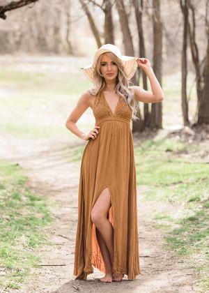 Never Doubt Her Lace Halter Maxi Dress Dark Mustard