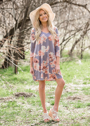 Perfect Floral 3/4 Sleeve Dress Lavender