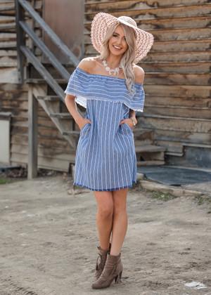 Striped Frayed Pocket Off Shoulder Ruffle Dress Navy