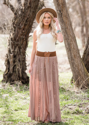 On a Lonely Night Lace Belted Maxi Skirt Taupe
