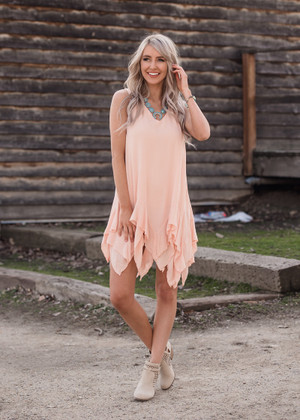 Ruffle Heaven Peach Dress
