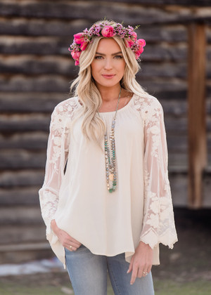On Your Side Lace Sleeve Top Beige