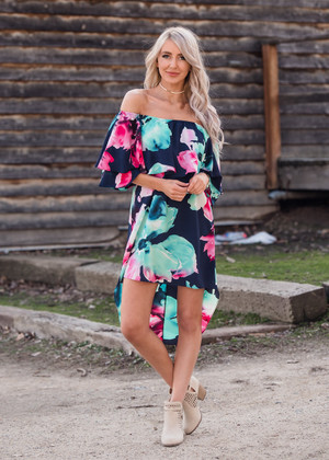 Beautiful Floral Off Shoulder High Low Ruffle Dress