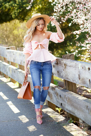 Seriously Adorable Off Shoulder Bubble Frilled Top Pink CLEARANCE