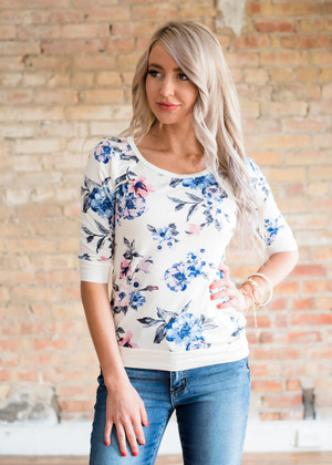 The Sweetest Thing 3/4 Sleeve Floral Top Ivory CLEARANCE