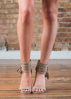 Open Toe Strappy Heels Taupe