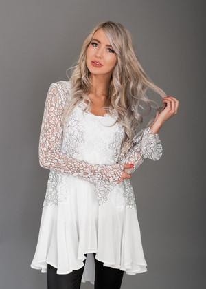 Beautiful White Detailed Lace Sheer Ruffle Top
