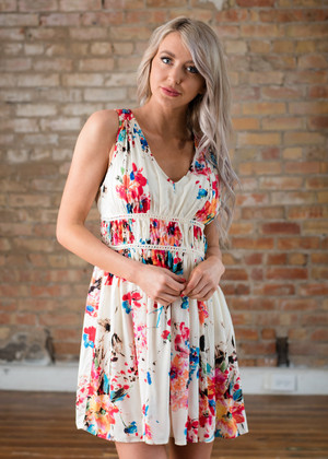 Give It All You Got Floral Accent Waist Tank Dress Ivory
