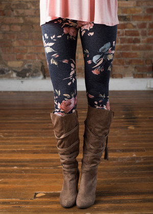 If We Let Go Floral Leggings Navy