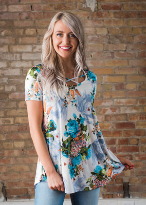 I'm Better Off Criss Cross Floral Top Ivory/Blue