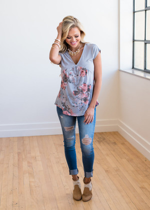 The Rest of Time Floral Top Gray