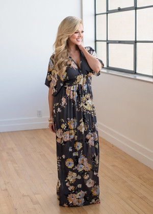 Waiting For You Floral Maxi Charcoal