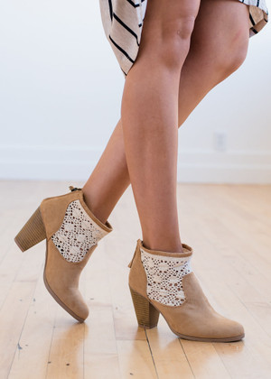 Always Searching for You Lace Booties Tan