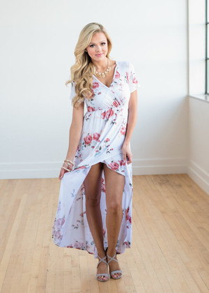 No One Will Know Floral Wrap High Low Dress Ivory