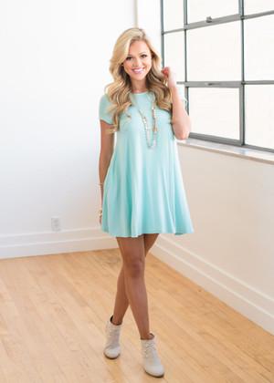 Solid Knit Pocket Dress Seafoam Pale