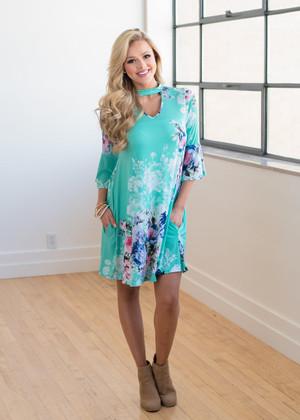 Keep Dreaming Floral Choker Pocket Dress Mint