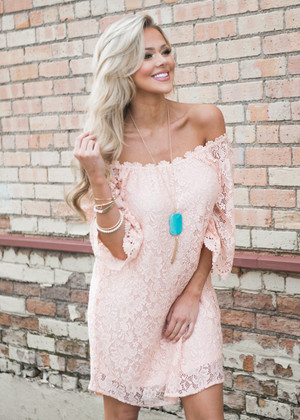 Be Seen Off the Shoulder Lace Dress Blush