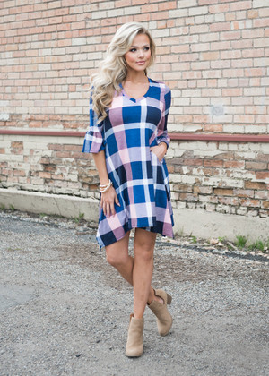 Ain't It Something Checkered Dress Navy/Pink CLEARANCE