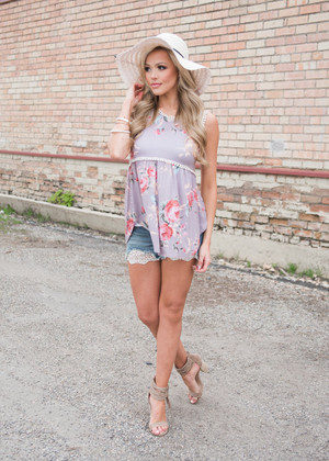 Mocha Embroidered Trim Floral Tank