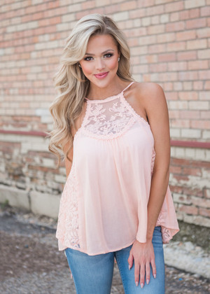 They Don't Know Lace Ruffle Tank Top Peach