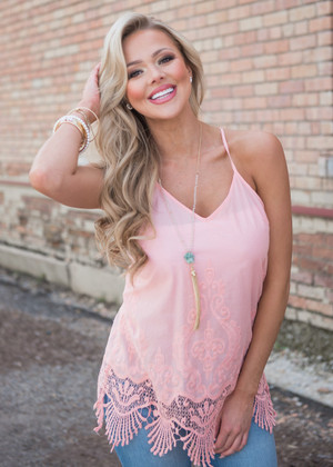 Embroidered Lace Detailed Trim Pink Tank