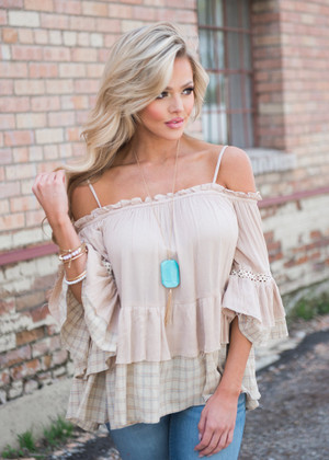Within Reach Off Shoulder Top Taupe