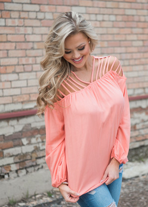 Graceful Strappy Shoulder Top Peach