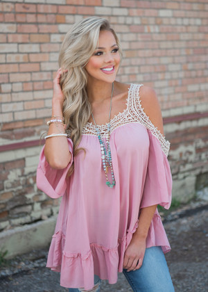 Give it Your All Open Shoulder Top Mauve
