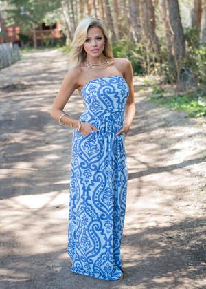 Baroque Designed Pocket Tube Dress Blue