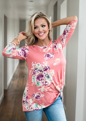Feeling Florals Twist Top Rose Pink