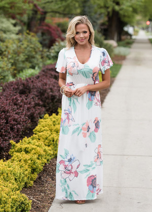 True As It Can Be Floral Maxi Dress White