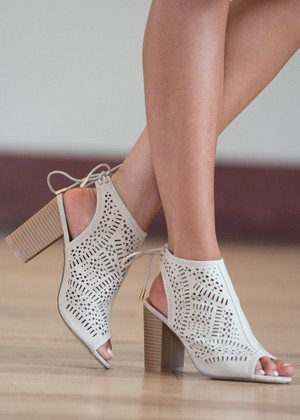 Going Anywhere Cut Out Heels Taupe