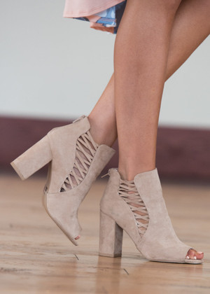 Say the Word Open Toe Booties Taupe