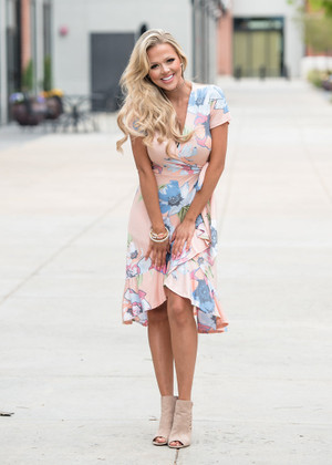 Swoon Over You Floral Ruffle High Low Dress Blush