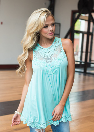 The Only Exception Lace Tank Mint