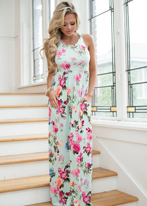 Beauty Within Floral Pocket Maxi Mint