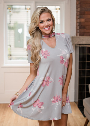 Anything to Make You Smile Floral Choker Pocket Dress Gray