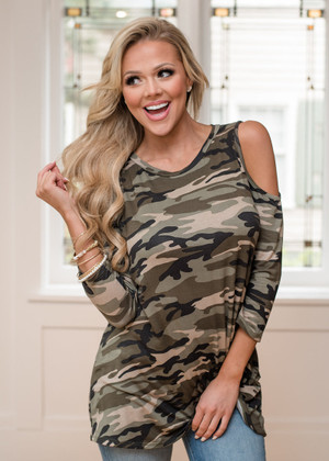 Risk It All Open Shoulder Twist Top Camo