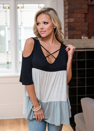 Color Block Criss Cross Open Shoulder Top Black
