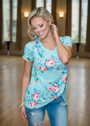 So Knotty Floral Twisted Top Mint