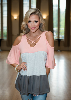Just Like This Criss Cross Open Shoulder Top Pink/Charcoal