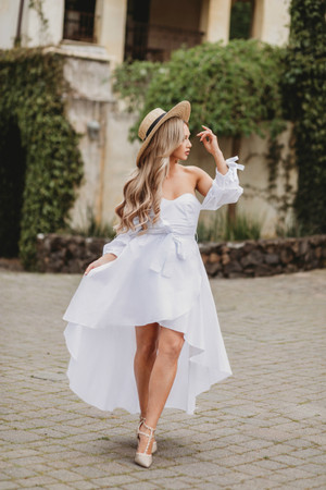 Somebody Help Me Off Shoulder High Low Puffy Dress White