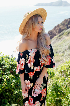 Fold Over My Shoulder Ruffle Floral Maxi Black