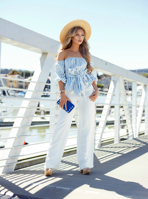 In No Hurry Striped Top Blue