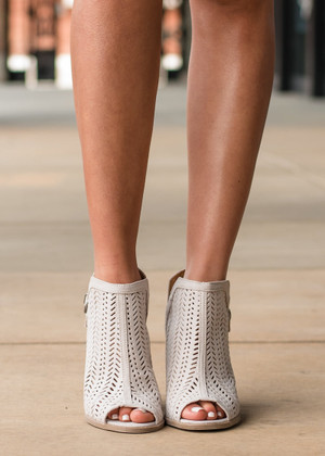 Out and About Criss Cross Laser Cut Booties Oatmeal