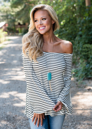 Belle Sleeve Off Shoulder Striped Top White/Black