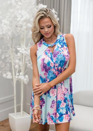 You Make Me So Happy Floral Dress Mint
