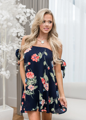 The Night is Young Off Shoulder Floral Dress Navy