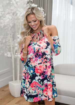 I Can't Wait To See You Floral Open Shoulder Dress