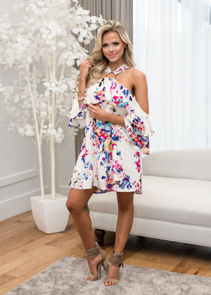 Floral Print Open Shoulder Halter Dress Cream